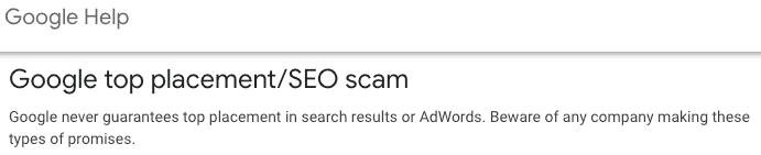 Google SEO Scam